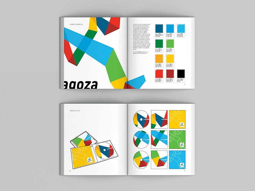 Páginas del manual de identidad Zaragoza-Pirineos 2022