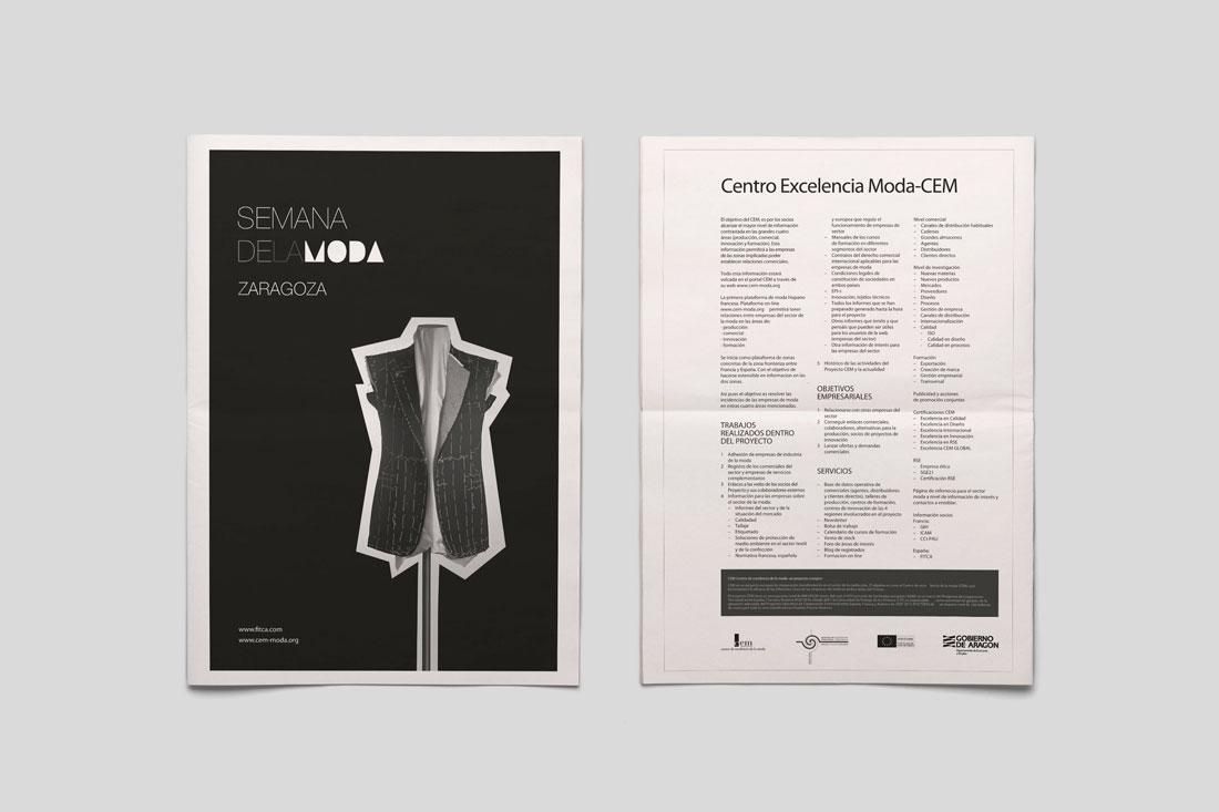 Diseño de periódico para la Semana de la Moda de Zaragoza