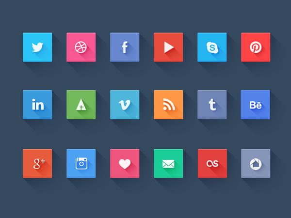 Iconos de redes sociales en versión Long Shadow creados por Pierre Borodin