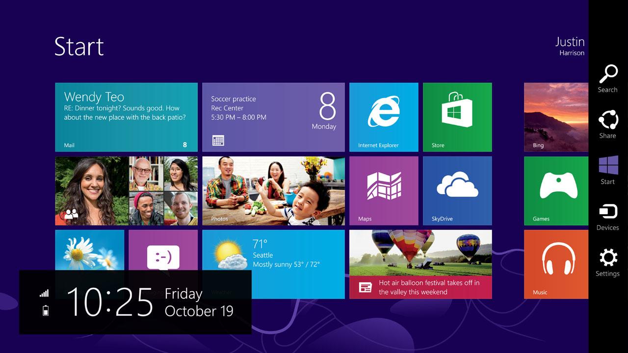 Interfaz de Windows 8 aplicando el diseño gráfico plano