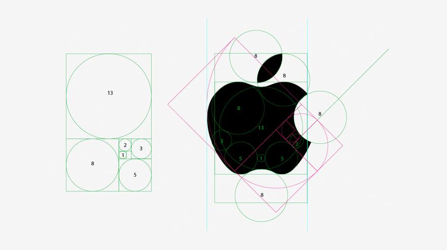 Diseño y construcción del logotipo de Apple a partir de formas geométricas