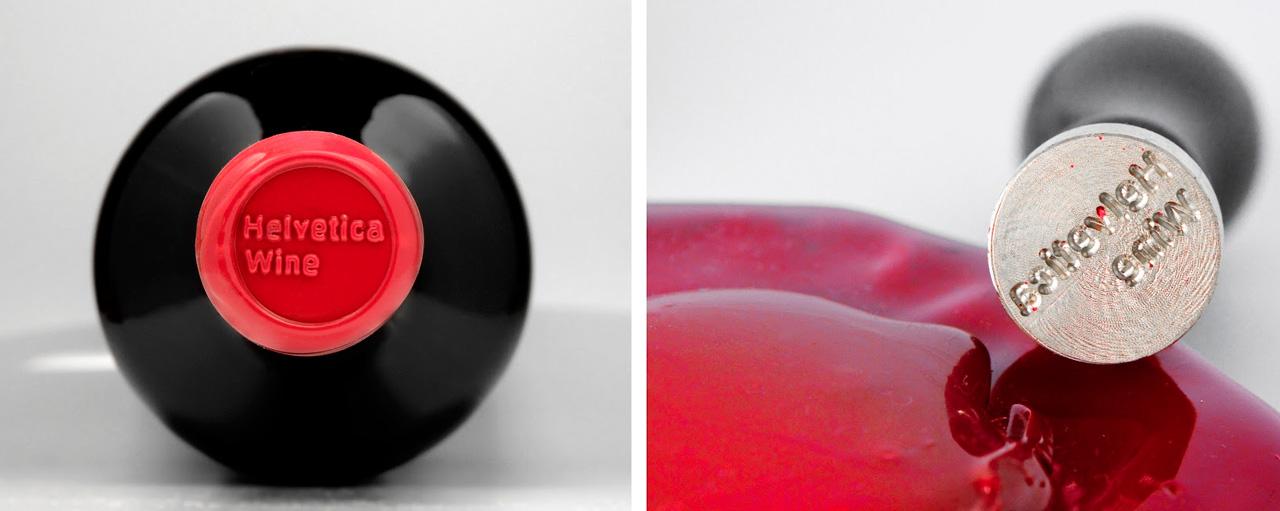 La famosa tipografía Helvetica da nombre a este vino e ilustra el diseño de la etiqueta