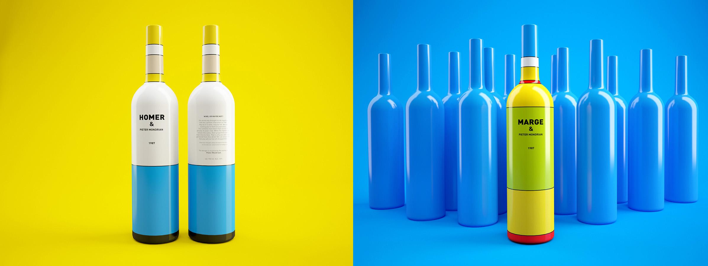 Diseño de packaging inspirado en Los Simposton y Piet Mondrian
