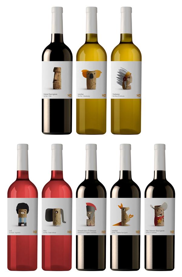 Creativas etiquetas de vino con el corcho como protagonista