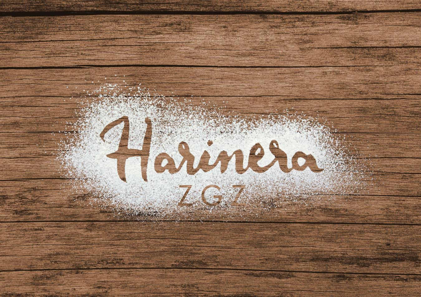 Diseño de logotipo aplicado sobre fondo fotográfico con el que participamos en el concurso para el diseño de imagen corporativa de Harinera ZGZ