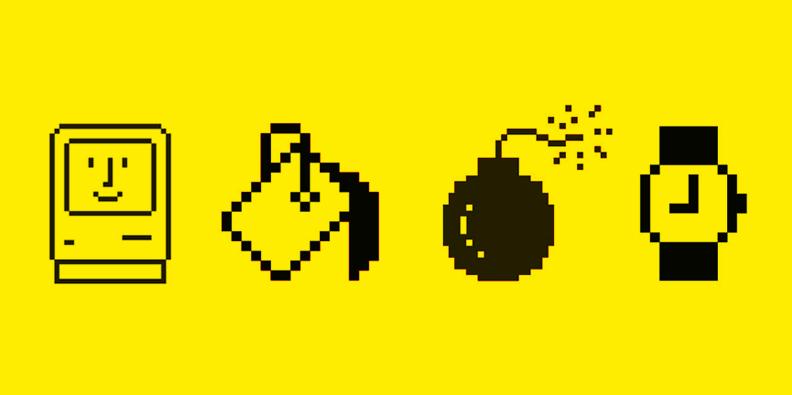 Algunos de los iconos más representativos creados por Susan Kare