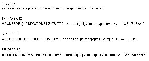 Varios ejemplos de las tipografías de Susan Kare