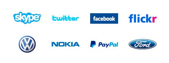 Los logotipos de Facebook, Skype, Twitter, Flickr, Volkswagen, Nokia, Pay Pal o Ford han elegido el color azul para representar a su empresa. El color azul transmite profundidad, seriedad, confianza y solemnidad.