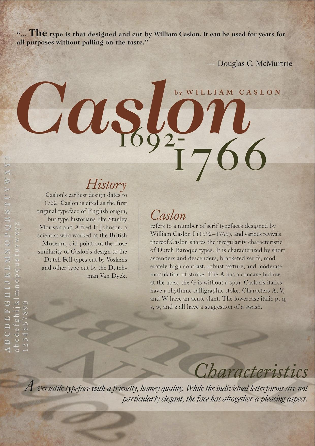 Considerada la  primera tipografía inglesa, fue diseñada por William Caslon