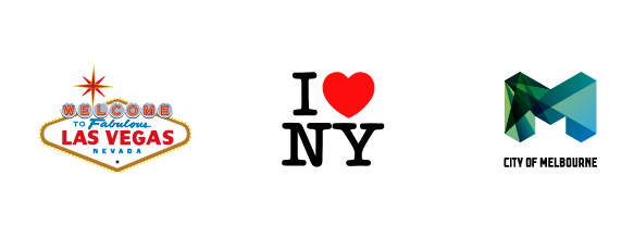 Los logotipos y eslóganes se convierten en los símbolos de reconocimiento de dicha ciudad