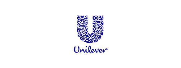 Unilever es una multinacional que engloba varias marcas, la U de su logotipo está formada por dibujos de representaciones de cada una de esas marcas y productos que la forman.