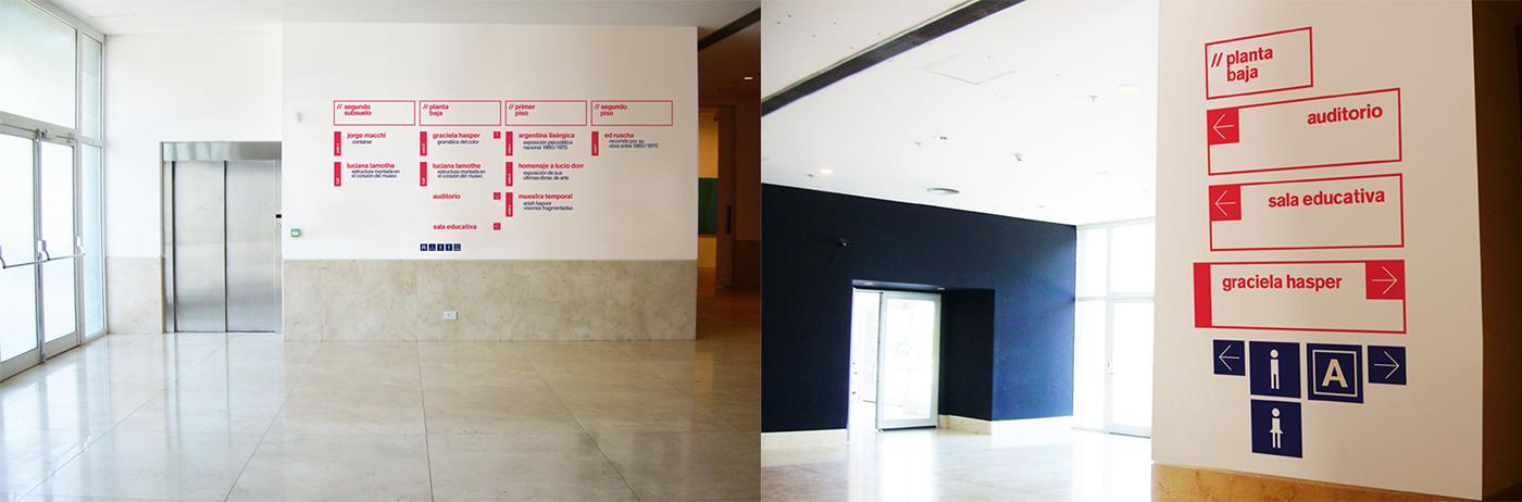 """Fotografías de """"Museo de Arte Moderno de Buenos Aires"""" del proyecto de Martin Pignataro y ROCKENBAK relacionada con la señalética de este edificio."""