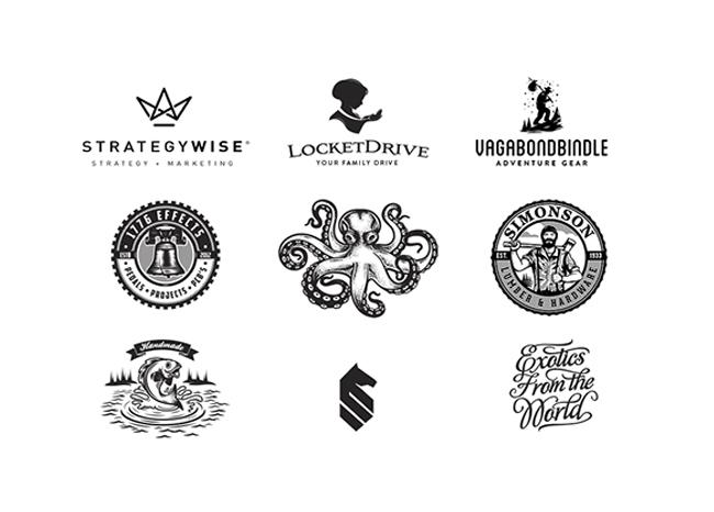 Logotipos de estilo vintage realizados por Milos Milovanovic.