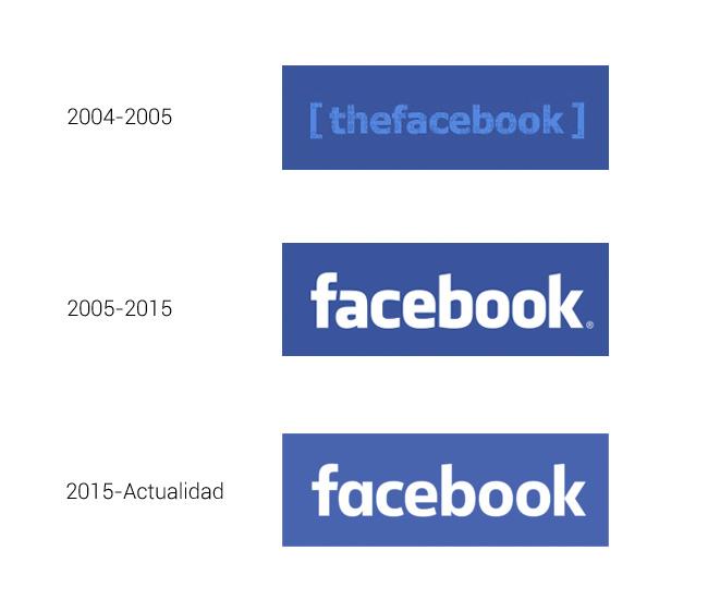 Evolución del logotipo de Facebook.
