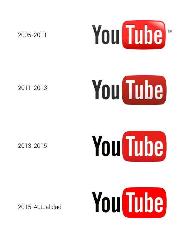 El logotipo de Youtube se ha ido simplificando con el paso de los años.