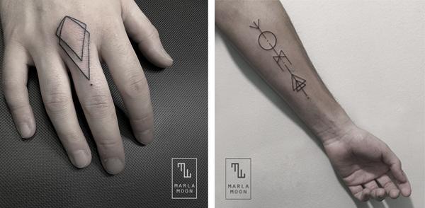 Ejemplos de trabajos geométricos de la tatuadora española Marla Moon.