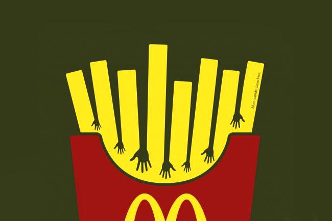 Las grandes empresas se valen del diseño gráfico para aplicarlo a sus logotipos y obtener éxito y relevancia. Imagen de portada: Fries Hands de la agencia Heye & Partner.