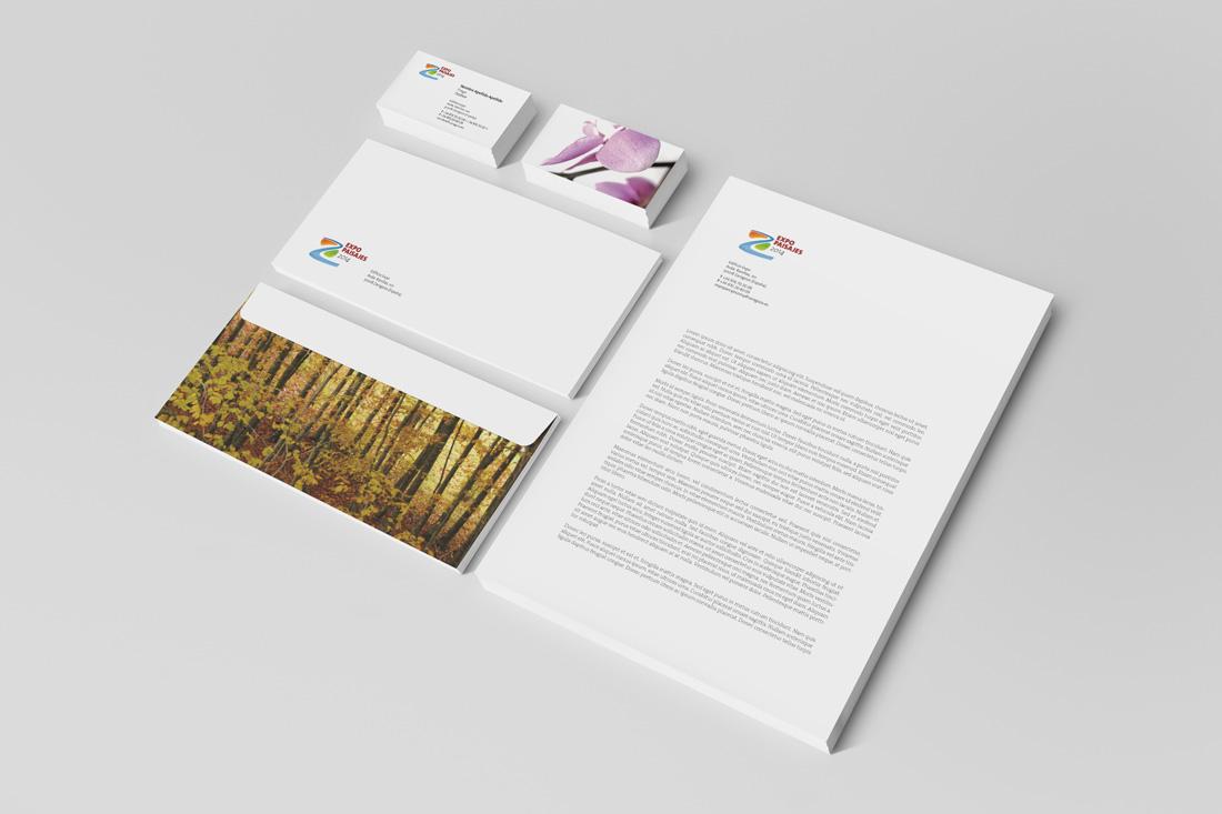 Sobres, carta y tarjetas de visita Expo Paisajes 2014