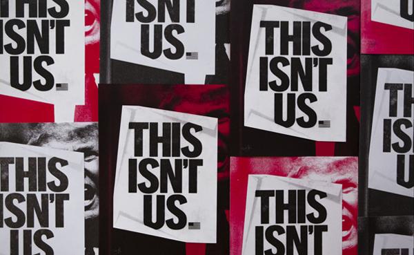 Diseño de cartel protesta hacia Trump de Nick Adams.