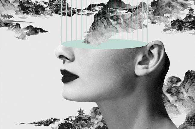 Obra realizada por Kayan Kwok basada en imágenes de Audrey Hepburn.