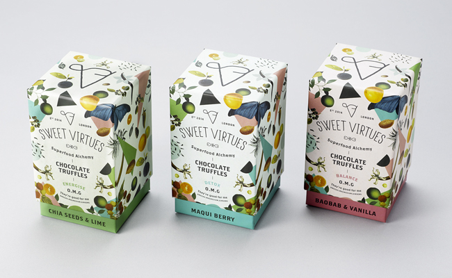 Diseño de packaging para producto Sweet Virtues.