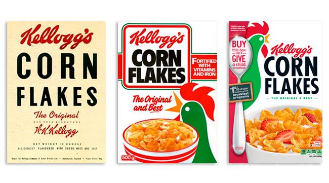 Evolución del diseño de packaging de Corn Flakes de Kelloggs.