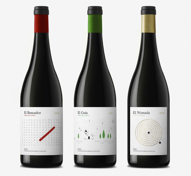 Diseño de etiquetas packaging interactivo para vinos de Finca de la Rica por estudio Dorian.