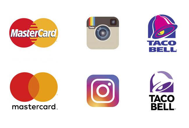 Ejemplos de rebranding: MasterCard, Instagram y Taco Bell.