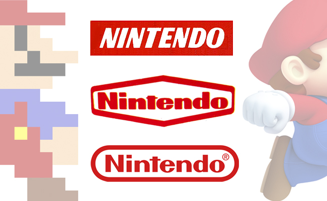 Algunos pasos en la evolución de logotipos de Nintendo.
