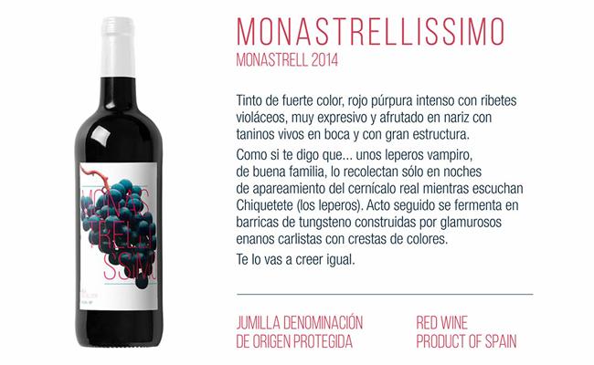 Monastrellissimo, un ejemplo de la viralidad que se consigue menzclando el diseño de etiquetas de vino con el humor.