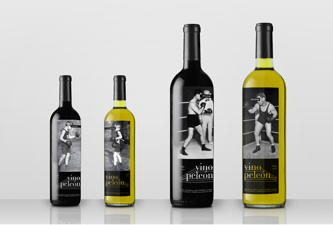 """Esta marca juega con el término de """"vino peleón"""" para su etiqueta de vino. Un diseño pícaro y con sentido del humor."""