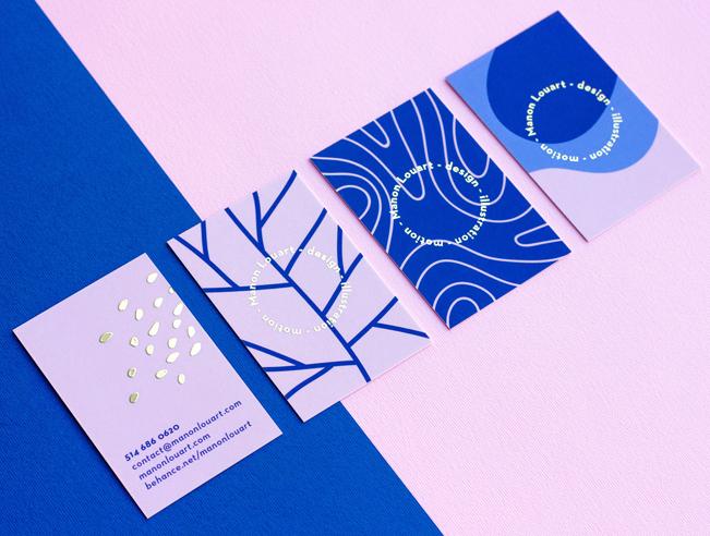 Diseño de tarjetas personal de Manon Louart para su propia empresa.