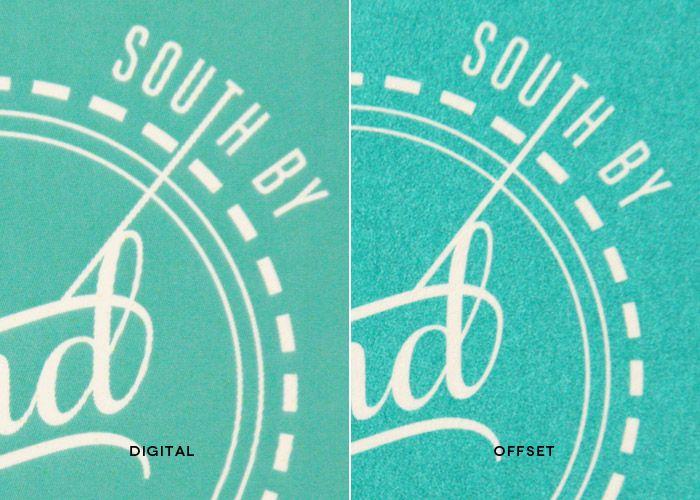 Ejemplo de la diferencia que existe entre la impresión digital y offset.