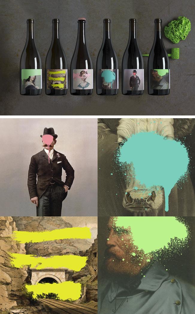 Force and Form son los autores de este diseño de packaging que mezcla imágenes clásicas con pintura en spray.