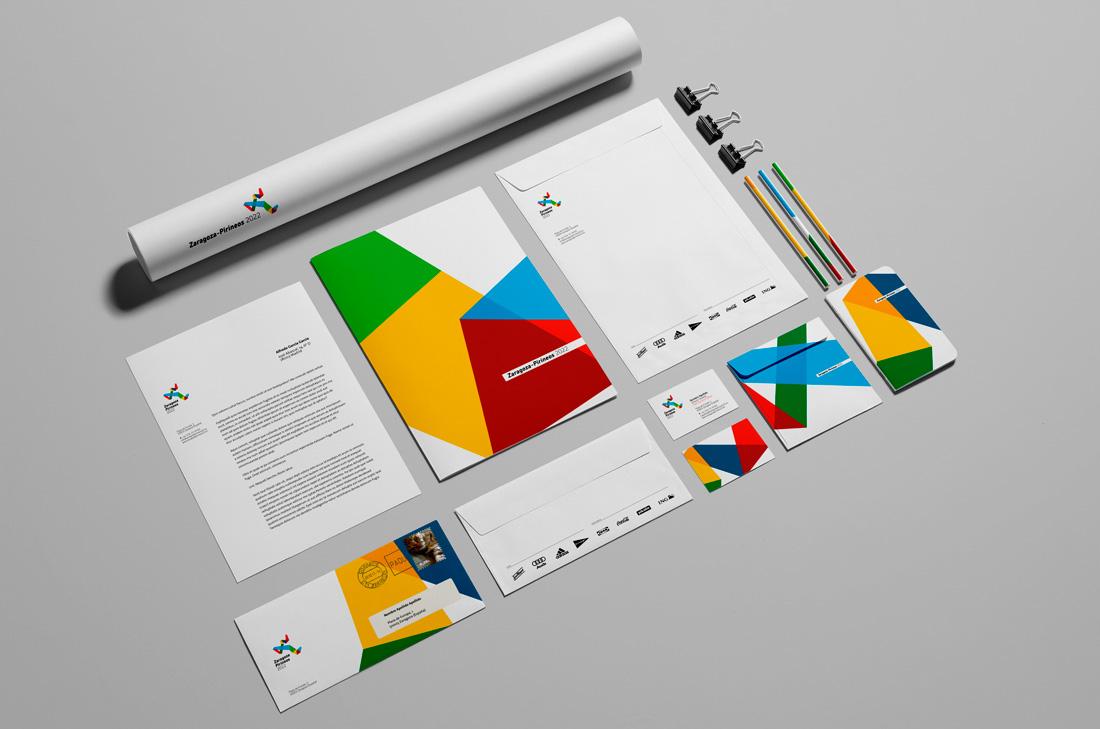 Diseño de papelería para proyecto de las olimpiadas Zaragoza-Pirineos 2022