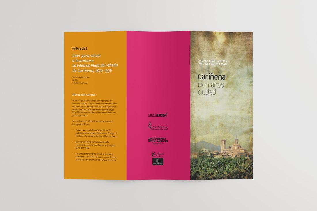 Diseño de folleto para Cariñena Cien años ciudad